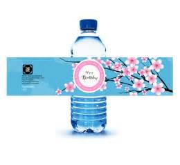 cherry blossom water bottle labels jenny gollan designs