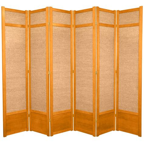 7ft room divider 7 ft honey 6 panel room divider 84jute hon 6p the home depot