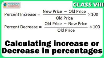 calculating increase or decrease in percentages