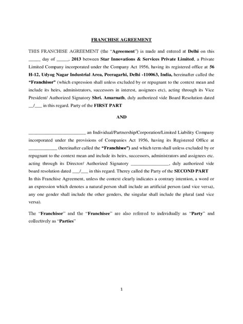 franchise agreement template franchise agreement template 6 free templates in pdf