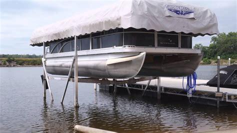 best pontoon boat lifts shoremaster lifts youtube