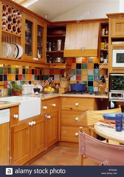 Kitchen Tiling Ideas Backsplash multi coloured wall tiles in kitchen dining room with
