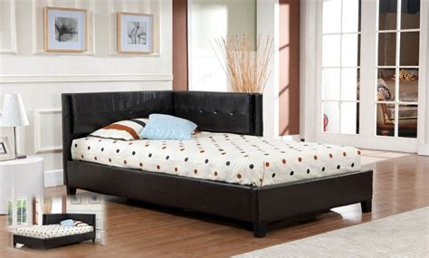 Black Leather Tufted Corner Headboard For Double Bed For