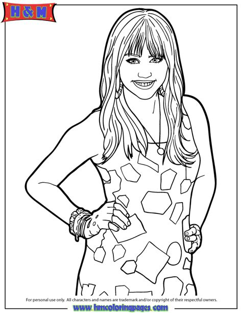miley stewart posing coloring page h m coloring pages
