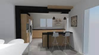cuisine moderne bois et noir style soft industriel