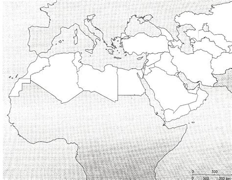 Africa And Middle East Outline Map by Bielinski Jason Blank Maps For Map Tests