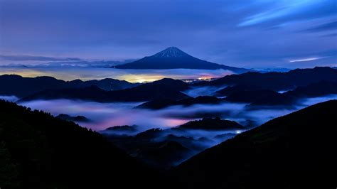 nature landscape mountain mount fuji japan evening