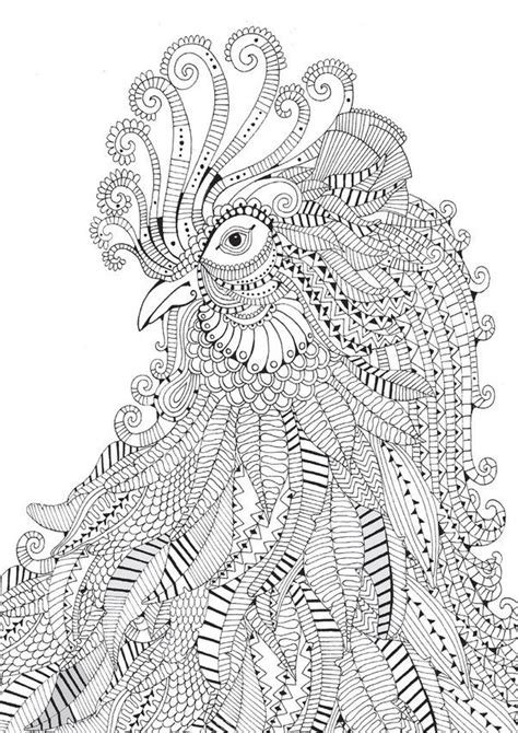 animal zendoodle coloring pages rooster abstract doodle zentangle zendoodle paisley