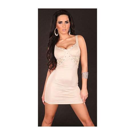 Robe Bustier Beige Moulante - robe courte moulante beige clair 25 08