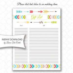 birthday gift list template tribal baby shower gift list instant neutral gender