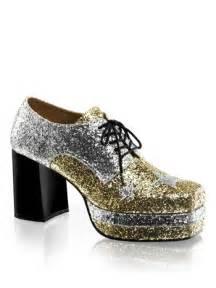 mens 70s disco glitter platform shoess and wide range of