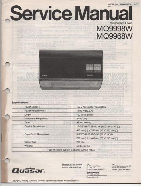 Quasar Mq9968w Mq9998w Microwave Oven Service Operating Manual