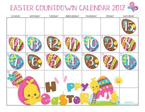 Calendar When Is Easter Easter Countdown Calendar 2017 Titus