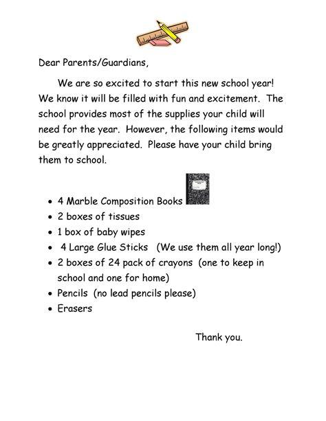 Parent Letter School Supplies Rising 1st Graders School Supplies List Ridge