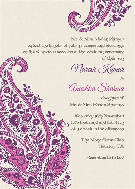 hp templates for invitations indian wedding invitation pink paisley motifs idea or