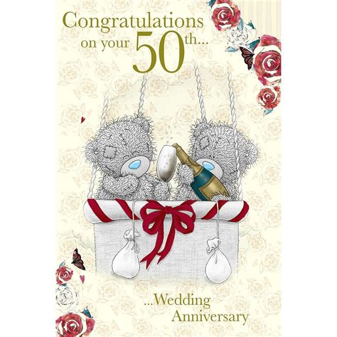 Congratulation Wedding Anniversary by Me To You 50th Wedding Anniversary Card Congratulations