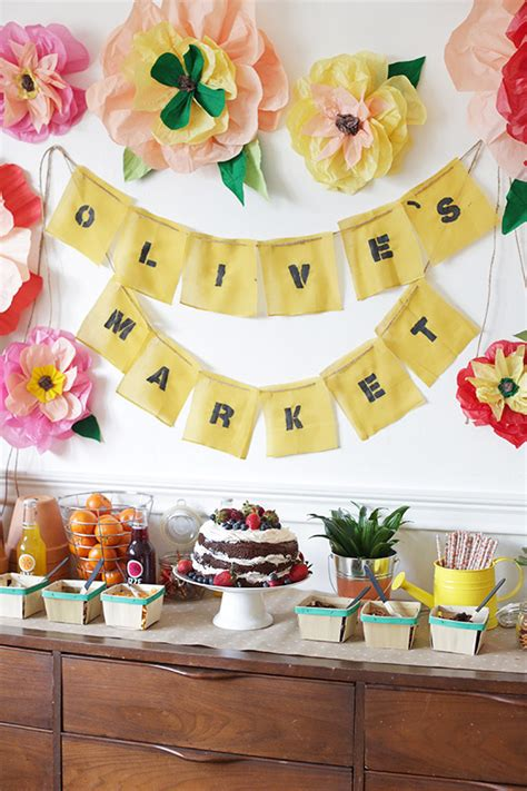 kids birthday party decoration ideas at home olive s farmer s market birthday party kids birthday