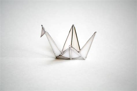 Origami Glass - origami crane white stained glass wedding gift shower