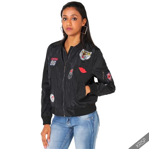 light bomber jacket womens womens classic army patch bomber jacket vintage military