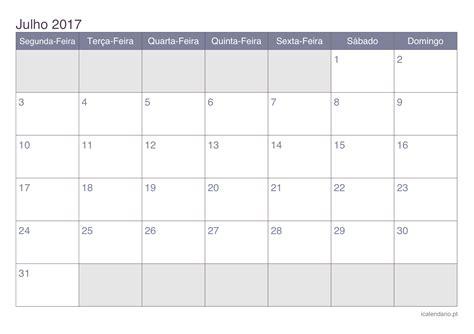 Calendario Con Las Semanas Aã O 2016 Calend 225 Julho 2017 Para Imprimir Icalend 225 Pt
