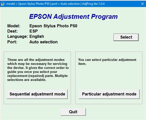 reset printer epson stylus office t30 epson p50 adjustment program p50