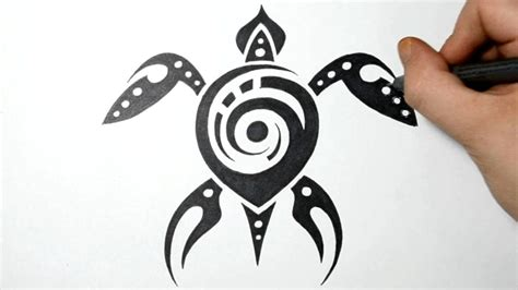 how to draw sea turtle tribal tattoo design real time