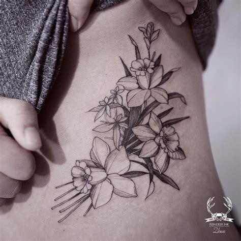 tattoo designs picture daffodil black and white floral on the torso