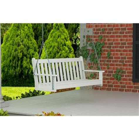 white patio swing polywood vineyard 60 in white patio swing gns60wh the