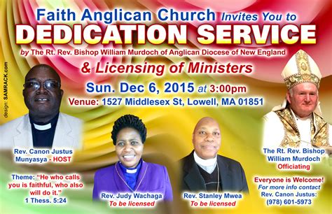 invitation faith anglican church dedication service licensing of ministers dec 6th 2015 3pm