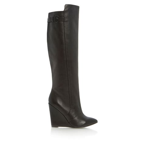 steve madden wedge boots steve madden zylon high leg point wedge boots in black