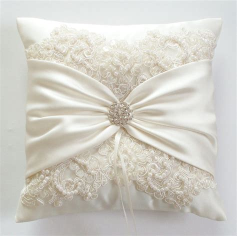 Wedding Rings Pillow by Wedding Ring Pillow With Beaded Alencon Lace Ivory