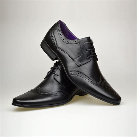 mens new casual brown leather smart formal lace up shoes