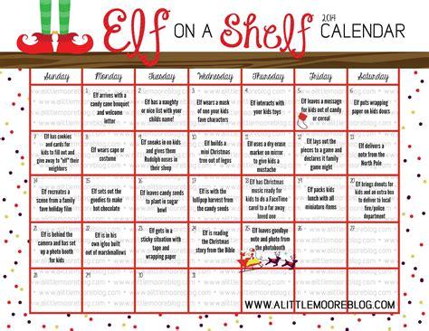 printable elf on the shelf calendar 2015 elf on the shelf 2014 calendar a little moore
