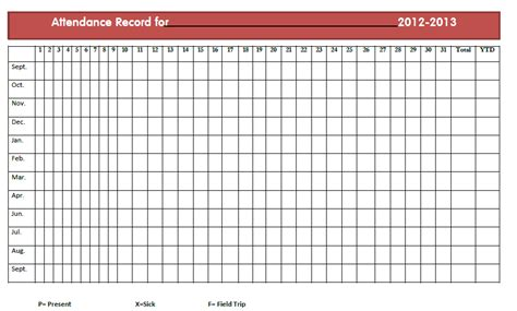 monthly attendance record template attendance sheet template yearly calendar template 2016