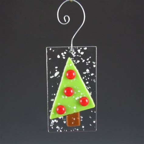 ornament fused glass christmas tree red glass bulbs