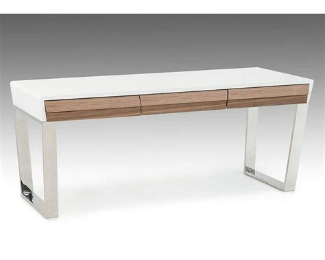 Contemporary White And Walnut Office Desk 44f141001 Modern White Desk