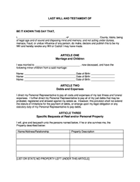 Bill Of Sale Form Oklahoma Last Will And Testament Form For Married Person With Minor Children Last Will And Testament Template Alabama