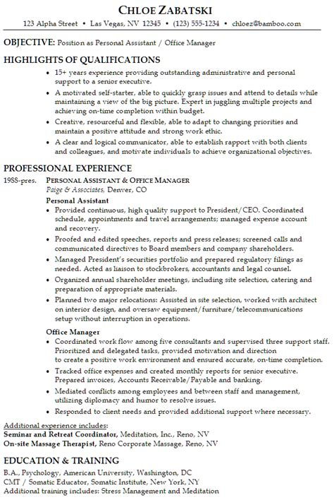 Chronological Resume Sle Personal Assistant Office Manager