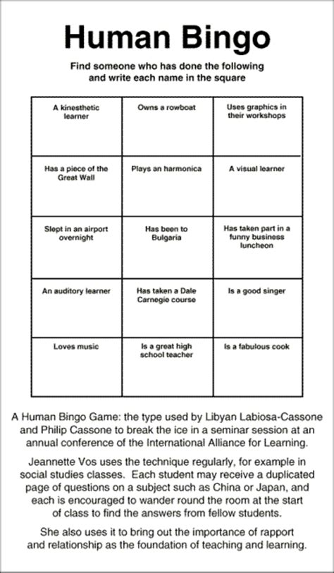human bingo template a human bingo the type used by libyan labiosa