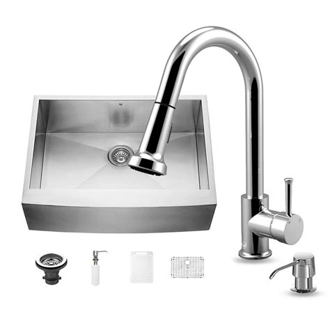 farmhouse sink with faucet holes vigo all in one farmhouse apron front stainless steel 30