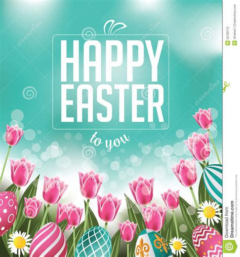 printable happy easter poster happy easter tulips eggs and text stock vector image