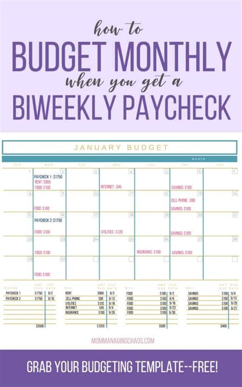 budget biweekly pay paying monthly bills