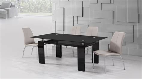 black glass high gloss dining table and 6 mink grey chairs