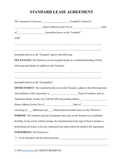 One Page Rental Agreement Lease Statement Template