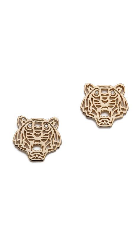 kenzo mini tiger earrings in gold lyst