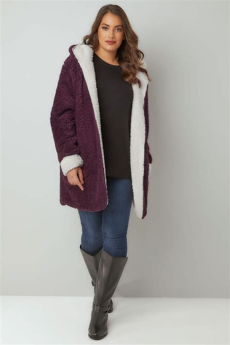 7 Unforgettable Looks You Must Try Now by Burgundy Reversible Fleece Coat With Plus Size 16 To 36