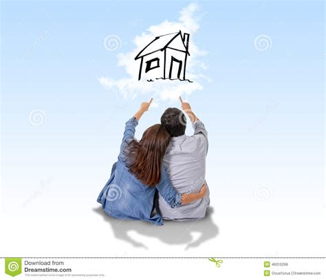 dreaming of a house young couple dreaming and imaging their new house in real state stock illustration
