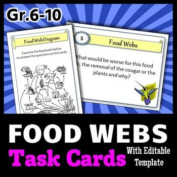 Food Webs Task Cards With Editable Template By Tangstar Science Task Card Template 2