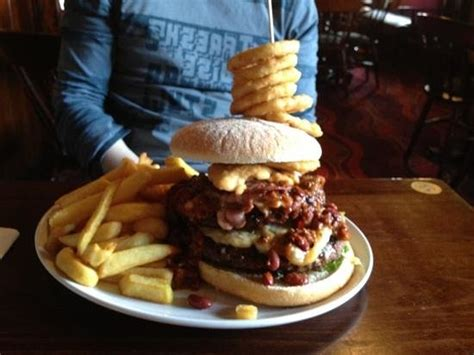 the flaming challenge burger flaming grill challenge burger picture of hound