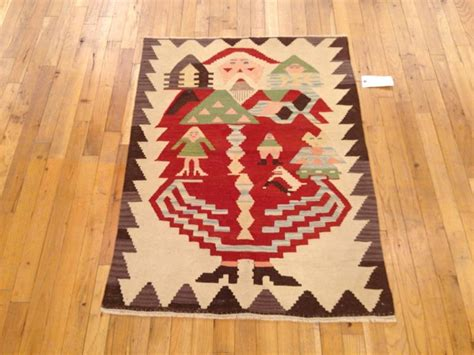 santa claus rugs vintage turkish flat woven rug in small size w baba noel santa claus design for sale at 1stdibs